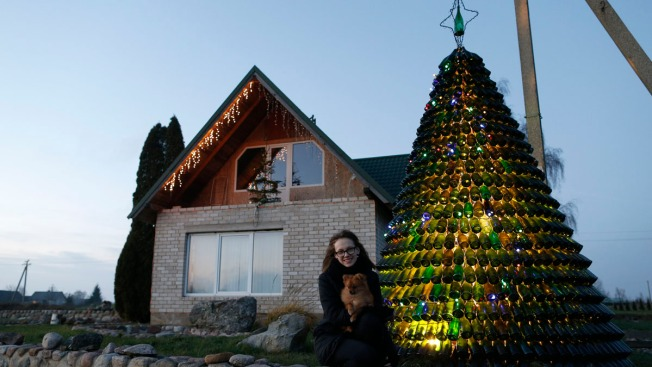 Christmas Tree of Empty Bottles Sparkles in Lithuania