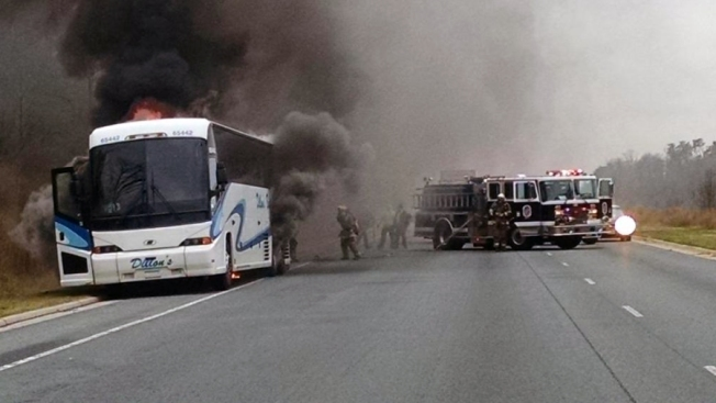 Two Lanes Blocked on BW Parkway After Bus Fire