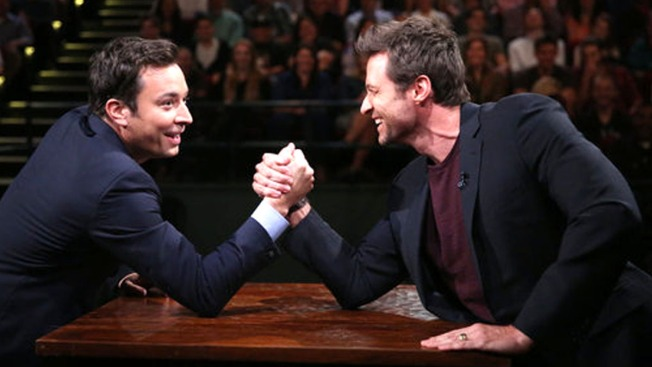 Hugh Jackman Takes On Jimmy Fallon in Arm-Wrestling Match