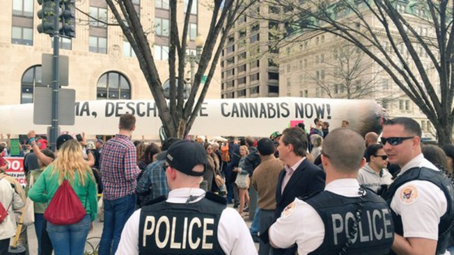 Marijuana Advocates Protest With Giant Joint Outside White House