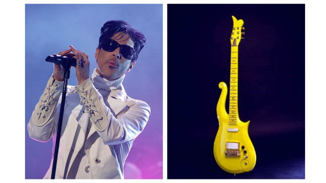 Smithsonians Display Prince's Bright Yellow Electric Guitar, Photograph