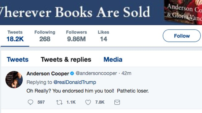 Anderson Cooper: Trump Taunt on Twitter Wasn't From Me