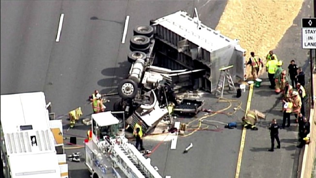 Overturned Dump Truck Causes Severe Traffic Delays on I-270 in Rockville