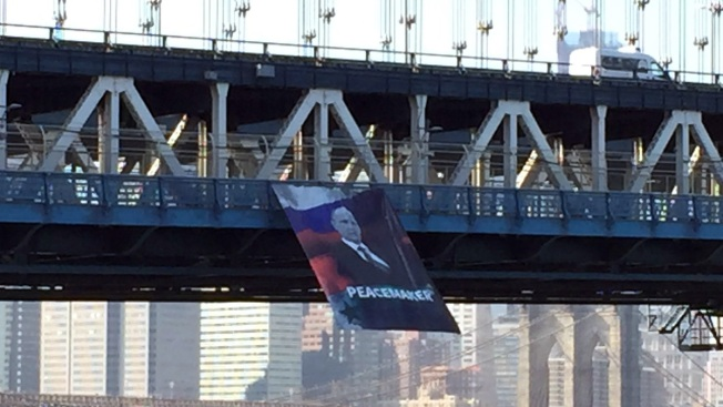 Banner Praising Vladimir Putin Unfurled From NYC Bridge
