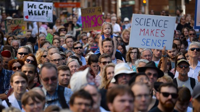 Scientists march against threat they face in post-fact age