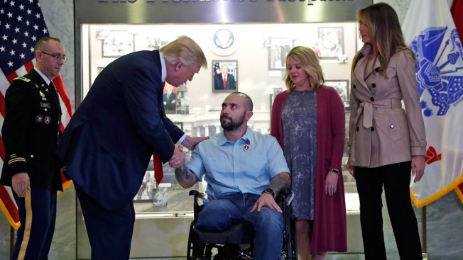 Trump Awards Purple Heart at Walter Reed Military Hospital