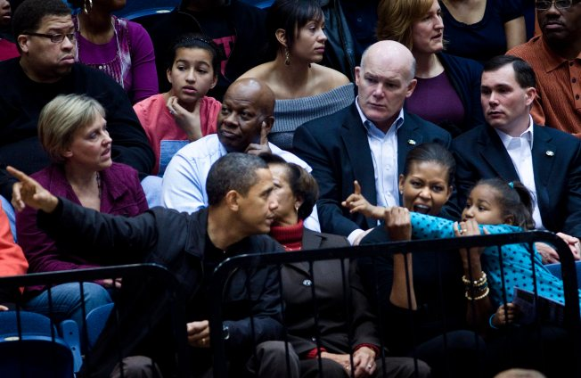 Obama Watches Hoops, Brother-in-Law Scores