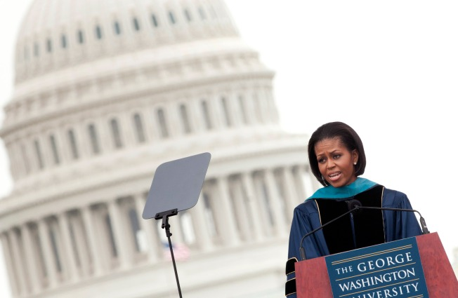 First Lady Fulfills Deal to GW Grads