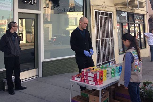 Girl Scout Sells Cookies Outside Pot Clinic