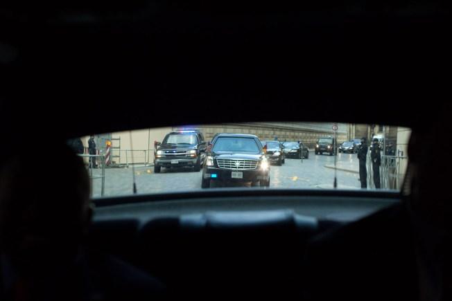 Prez's Motorcade Accident Leads to Staredown