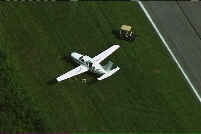 Small Plane Leaves Runway After Tire Problem