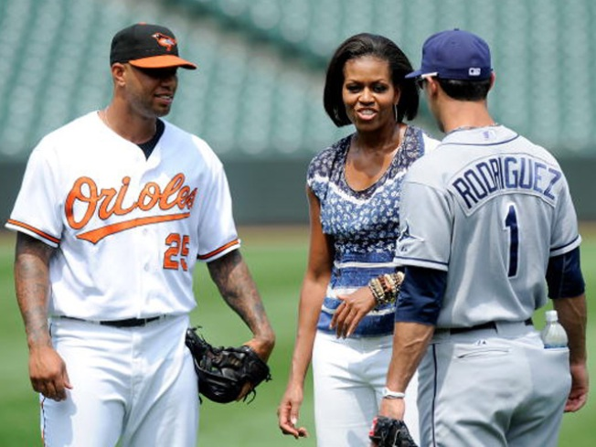 First Lady Takes Field With Orioles