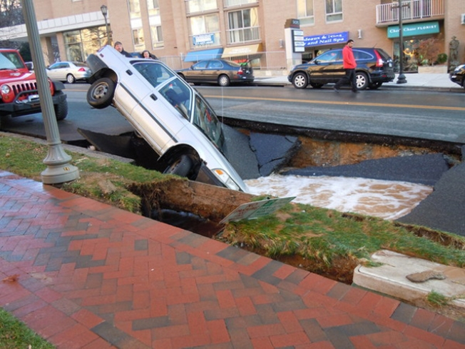 Car Falls In Friendship Heights Sinkhole
