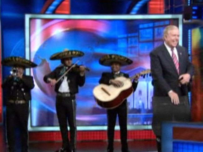 """Mariachi Band Welcomes Lou Dobbs to """"Daily Show"""""""