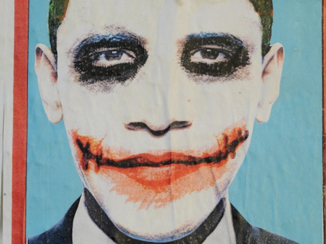 Strip Club's Obama Joker Banner Defaced