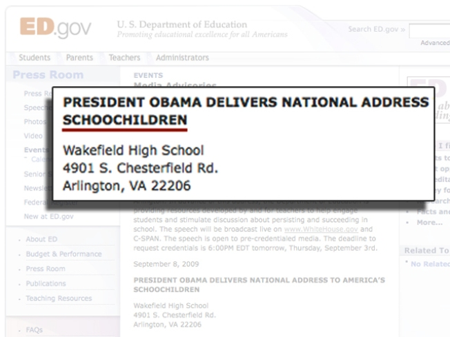 "Obama to Address ""Schoochildren"""