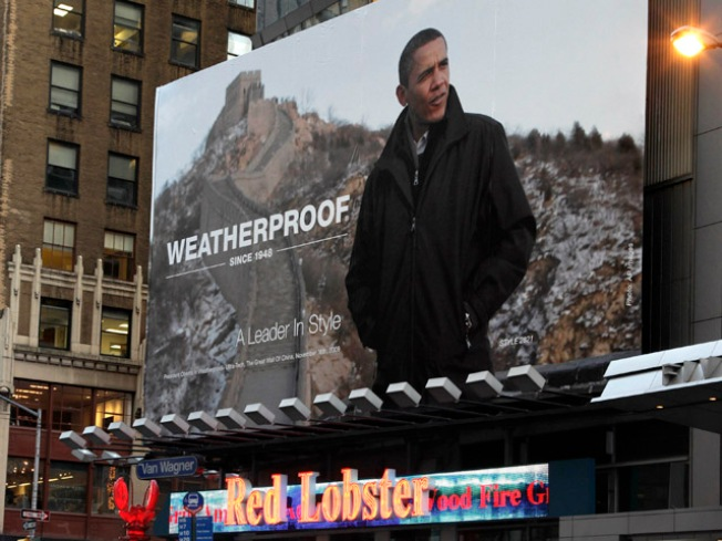 Obama Turned Pitchman in Times Square