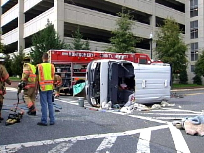 Two Temporarily Trapped After Rockville Crash