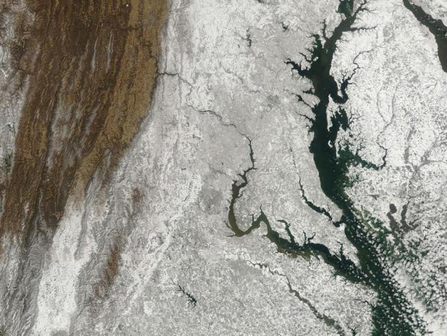 A Snowy View of D.C. Area from Above