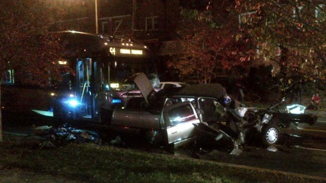 Two Metrobuses, Car In Crash In Northwest