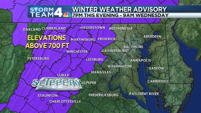 Ice, Sleet Possible in Higher Elevations Overnight