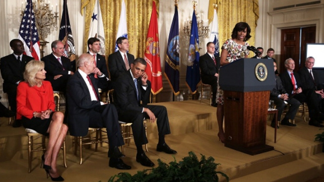 Obamas, Bidens Call for Jobs for Veterans