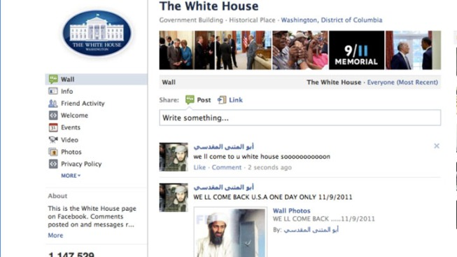 White House Threatened on Facebook
