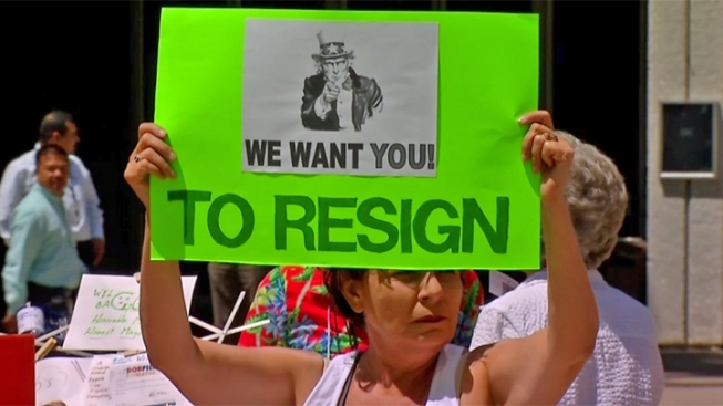 Opponents Protest San Diego Mayor's Return from Rehab