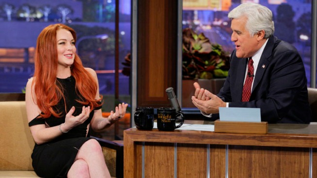"Lindsay Lohan Talks Barbara Walters, ""Liz & Dick"" on ""Leno"""
