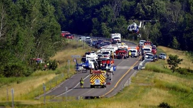 Tour Bus Traveling From D.C. Crashes