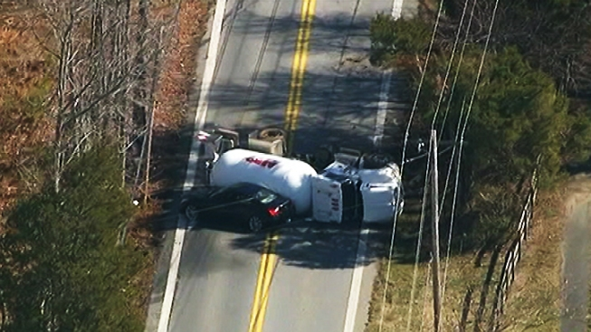 Evacuations Lifted After Propane Truck Overturns