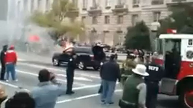 Blossom Parade Stalled by Flaming SUV