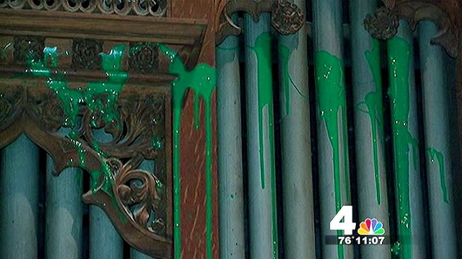 Splattered Green Paint Gone From National Cathedral