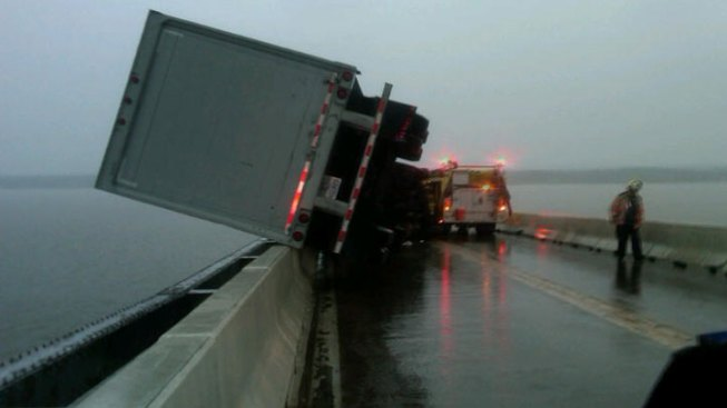 UPS Truck Nearly Plunges Off Md. Bridge