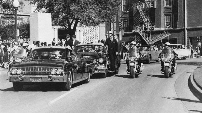 JFK's Motorcade Arrives at Dealey Plaza; Shots Fired