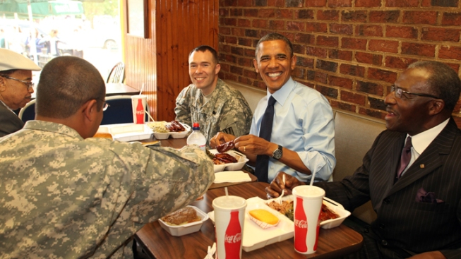 Obama Tries Some Capitol Hill BBQ