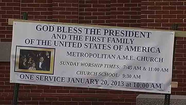 News4's Chris Gordon reports from Metropolitan AME Church, where the Obamas traveled for Sunday services prior to the President's official swearing-in.