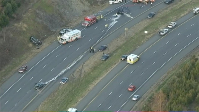 A four car accident snarled traffic on the Dulles Greenway in Ashburn on Thursday morning.