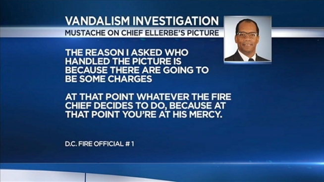 Someone drew a mustache on an official picture of Fire Chief Ken Ellerbe, prompting a police investigation. News4's Tom Sherwood reports.