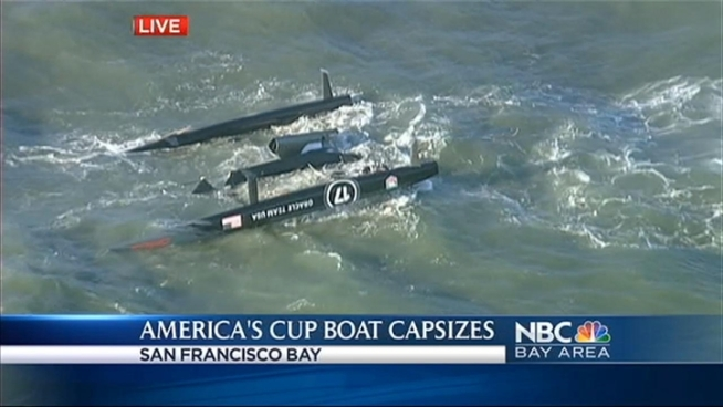 High drama on the San Francisco Bay Tuesday afternoon after an Oracle Team USA boat 72 capsized.