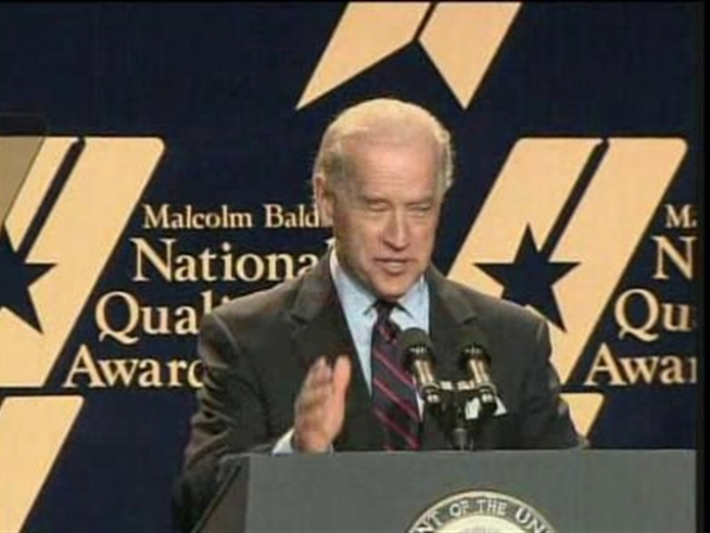 Vice President Joe Biden was running late to a speech.  He arrived on time but was a little
