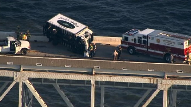 Overturned Box Truck Removed From Bay Bridge After Crash Leaves It Hanging Over Edge; All Lanes Reopen