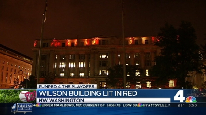 Wilson Building Goes Red for Nats Playoffs