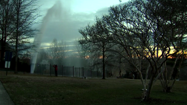 Water Main Break Sends Water Shooting Into Air in Alexandria