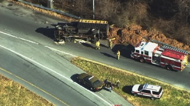 Dump Truck Overturns on Inner Loop of the Beltway