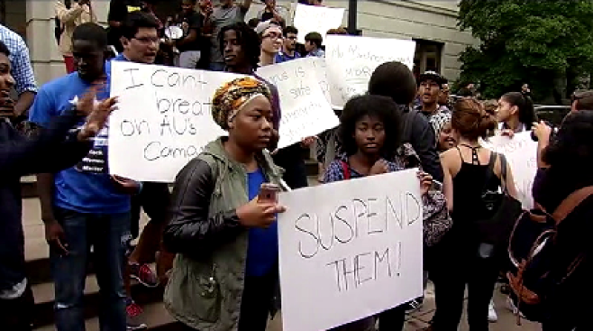 AU Students, Others Protest Racial Incidents on Campus