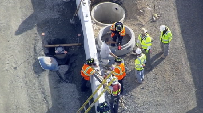 Construction Worker Falls Down Storm Drain Along Dulles Toll Road
