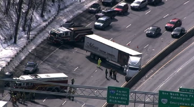 Tractor-Trailer Jackknifes on Inner Loop in Va.