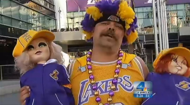 Outside Staples Center Friday night, Lakers fans were almost unanimously pleased that head coach Mike Brown was stripped of his job just five games into the season. The Lakers lost four of those five games. Angie Crouch reports from the Staples Center for the NBC4 News at 5 p.m. on Nov. 9, 2012.
