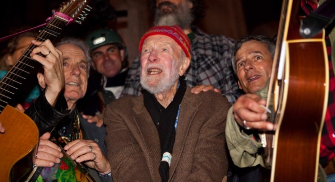 Folk Legend Pete Seeger Marches with Wall Street Protesters